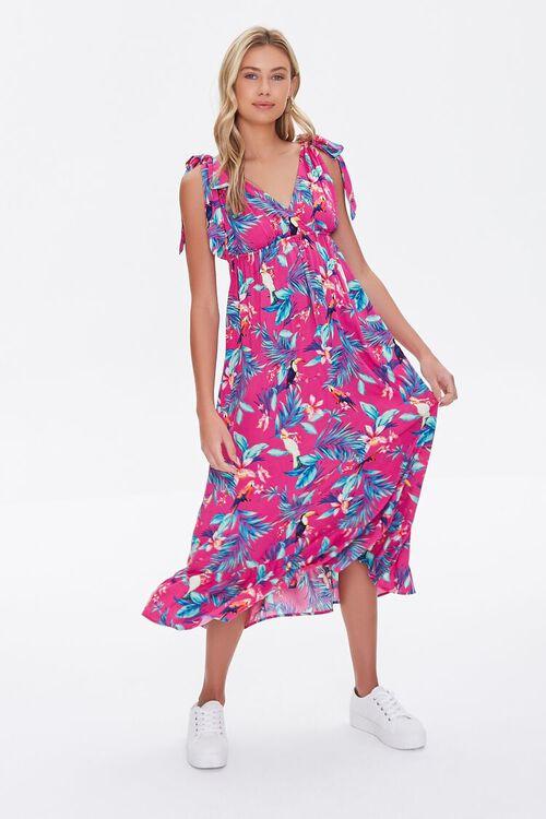 MAGENTA/MULTI Tropical Print Midi Dress, image 2