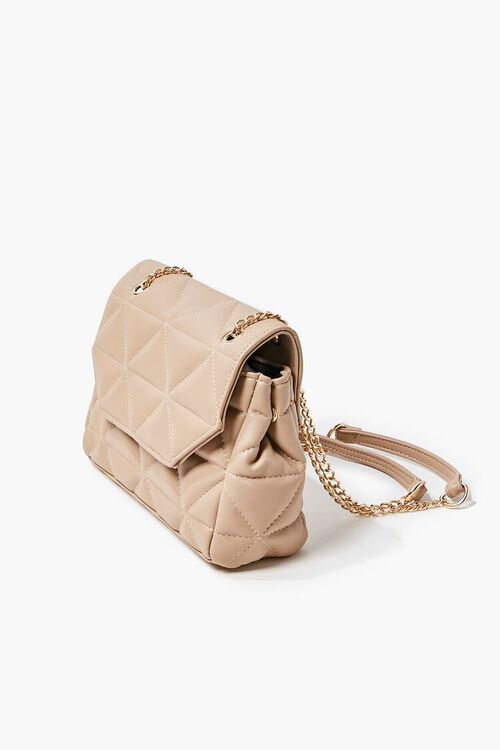 TAUPE Quilted Faux Leather Crossbody Bag, image 2