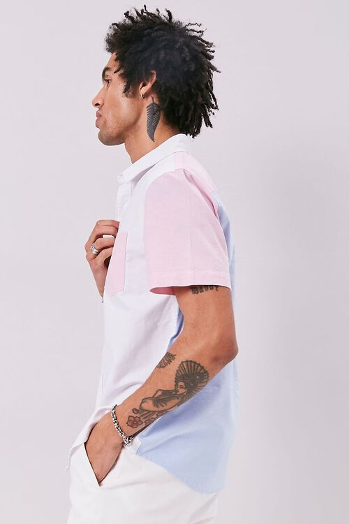 WHITE/BLUE Colorblock Fitted Pocket Shirt, image 2