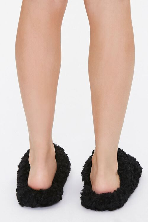 Fuzzy Faux Sheepskin Slippers, image 3