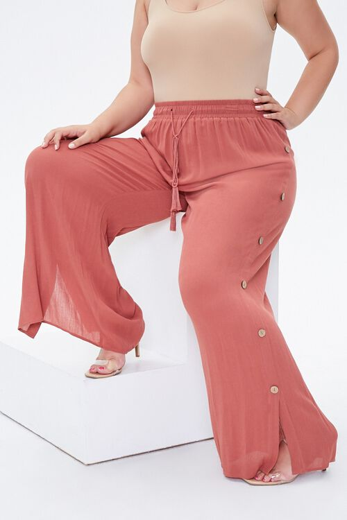 Plus Size Slit-Leg Crinkle Pants, image 1