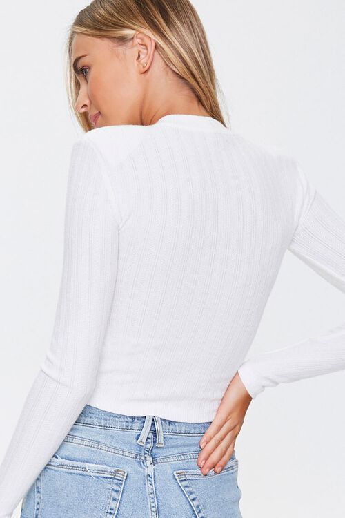 Ribbed Pointelle Knit Top, image 3