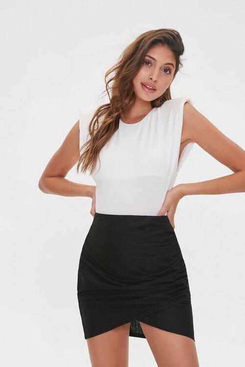 Ruched Tulip-Hem Mini Skirt, image 1
