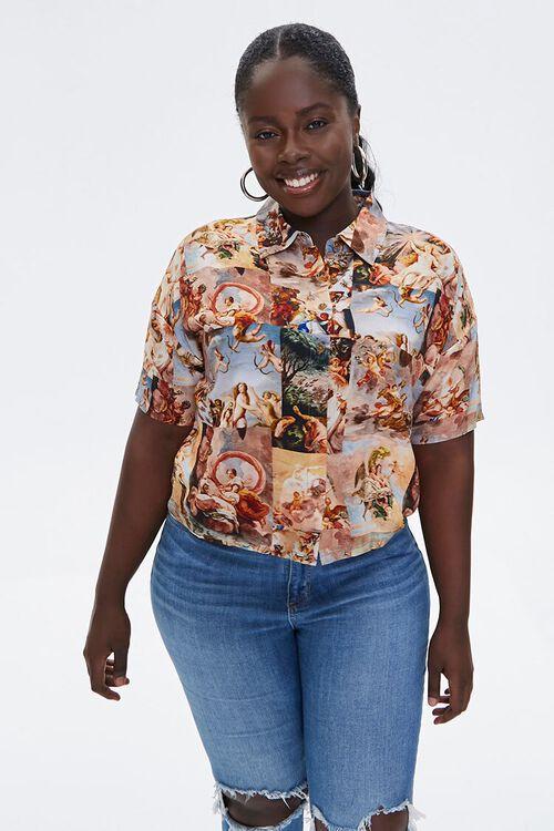 Plus Size Renaissance Art Print Shirt, image 1