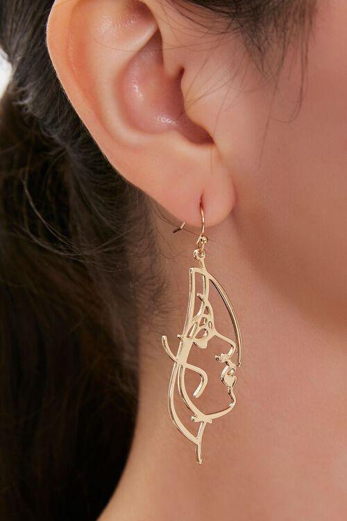 Cutout Face Pendant Drop Earrings, image 1