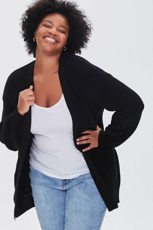 Plus Size Patch-Pocket Cardigan Sweater, image 1
