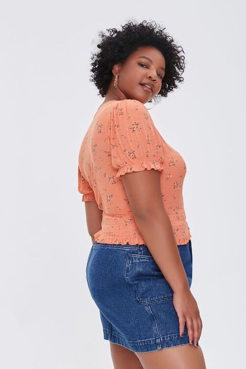Plus Size Floral Puff-Sleeve Top, image 2