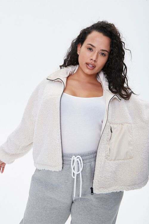 Plus Size Faux Shearling Jacket, image 1