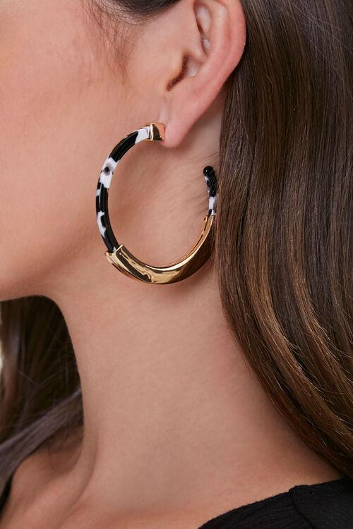 Marble Open-Ended Hoop Earrings, image 1