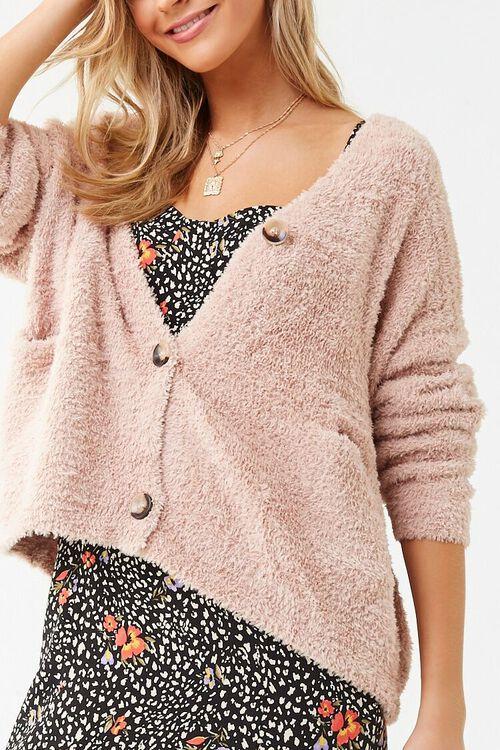 Faux Fur Button-Front Cardigan, image 1