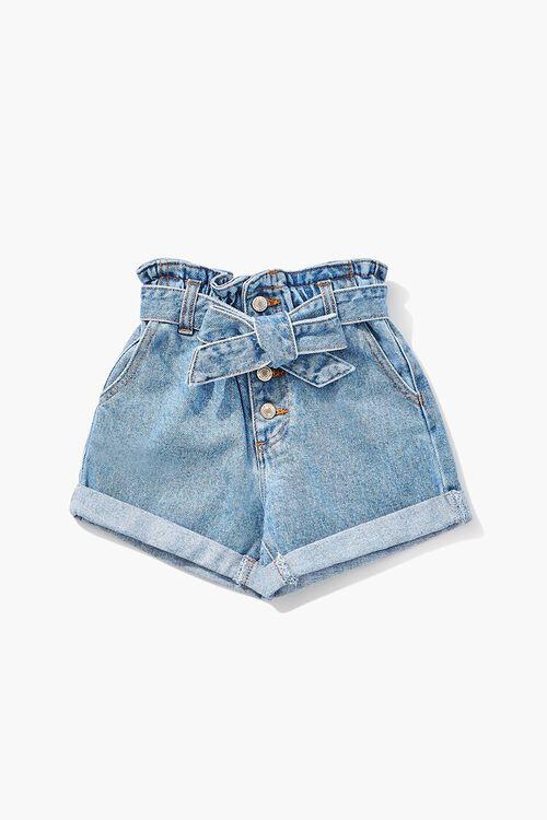 Girls Paperbag Denim Shorts (Kids), image 1
