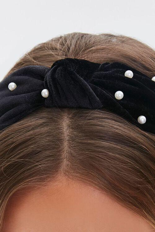 Velvet Faux Pearl Headband, image 2
