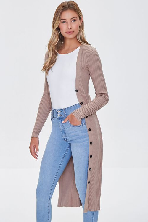 Ribbed Longline Cardigan Sweater, image 1