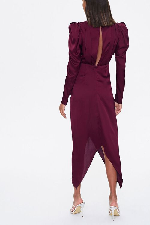 Ruched Puff-Sleeve Midi Dress, image 3
