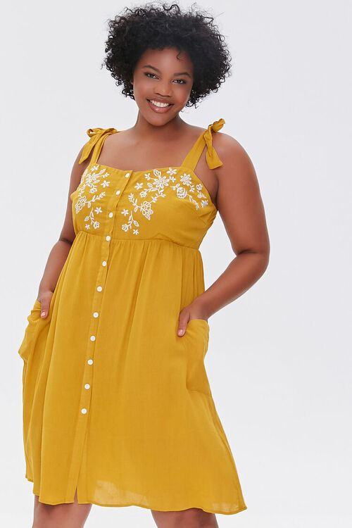 Plus Size Embroidered Floral Mini Dress, image 1