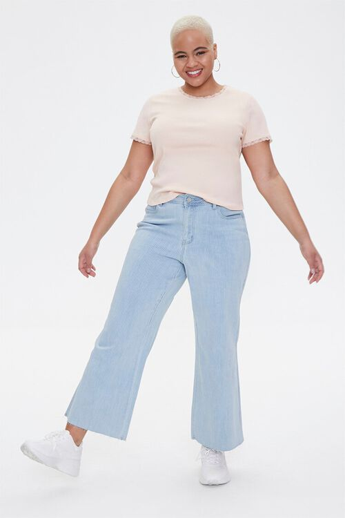 Plus Size Pinstriped Wide-Leg Jeans, image 1