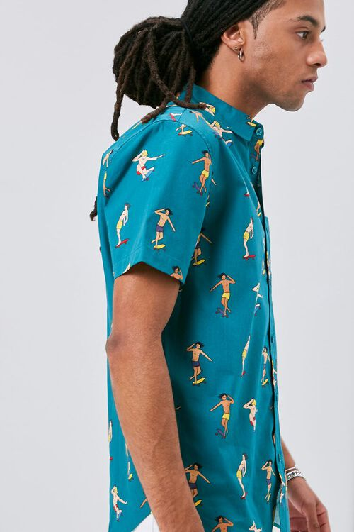 Skateboard Print Fitted Shirt, image 2