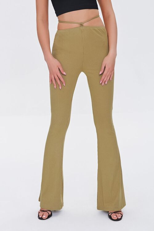 OLIVE Ribbed Knit Self-Tie Flare Pants, image 2