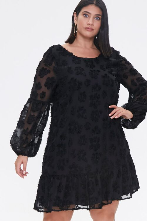 Plus Size Floral-Embellished Peasant Dress, image 1