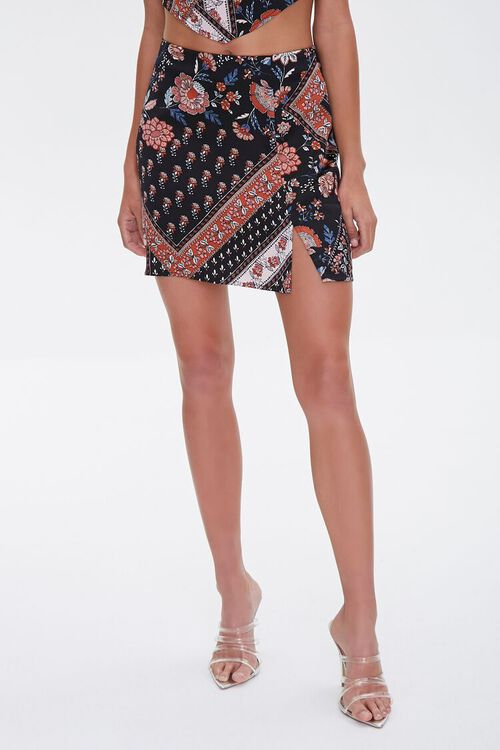 BLACK/MULTI Patchwork Floral Print Mini Skirt, image 2