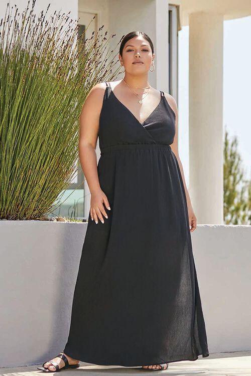 BLACK Plus Size Surplice Cami Maxi Dress, image 1