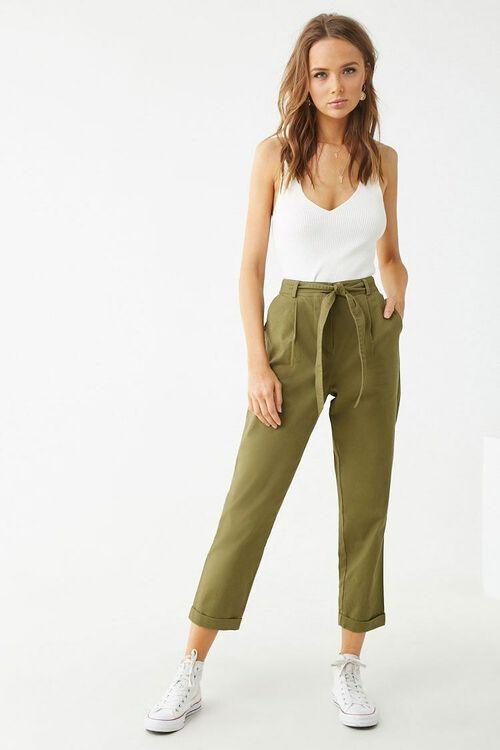 Belted Cuffed Hem Pants, image 4