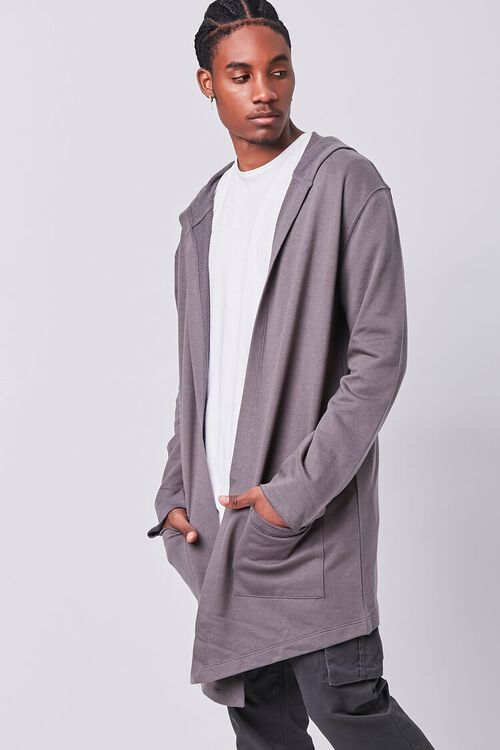 GREY Longline Hooded Cardigan Sweater, image 1