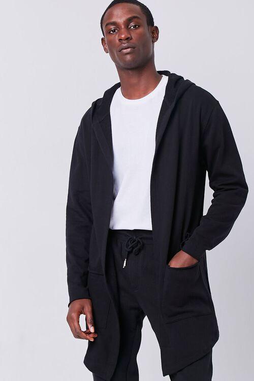 BLACK Longline Hooded Cardigan, image 1