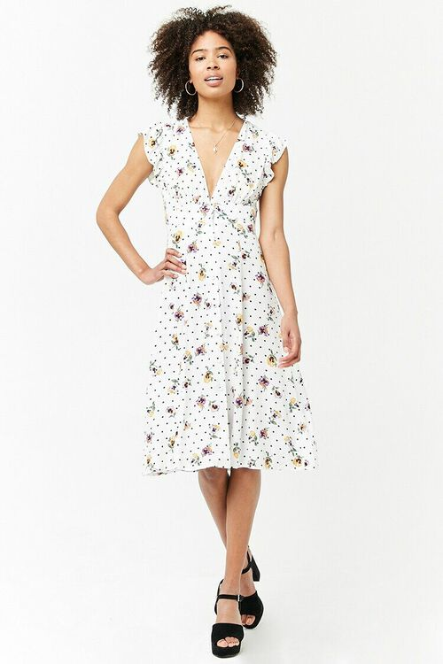 Floral Plunging Dress, image 1