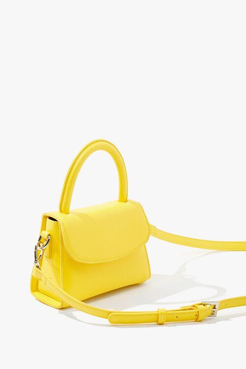 YELLOW Mini Faux Leather Crossbody Bag, image 2