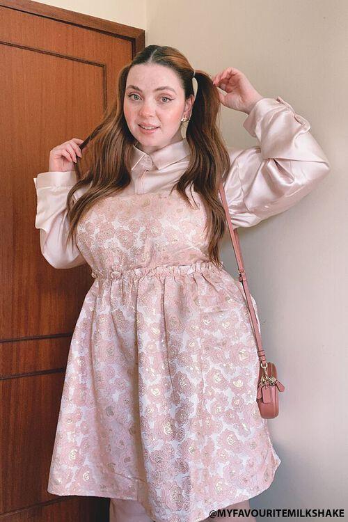 Plus Size Jacquard Rose Print Dress, image 1