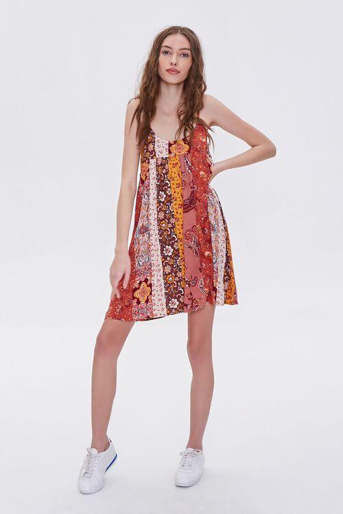 RUST/MULTI Patchwork Cami Mini Dress, image 4