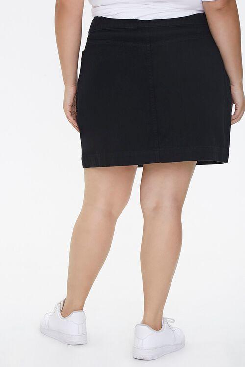 BLACK Plus Size Denim Mini Skirt, image 4