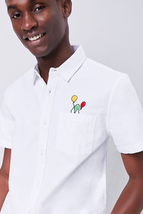 Fitted Embroidered Balloon Graphic Pocket Shirt, image 1