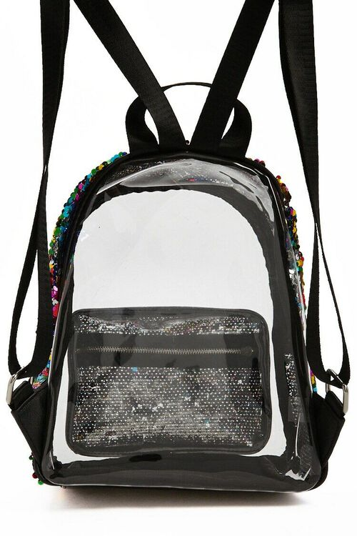 Rainbow Sequin Transparent Backpack, image 4