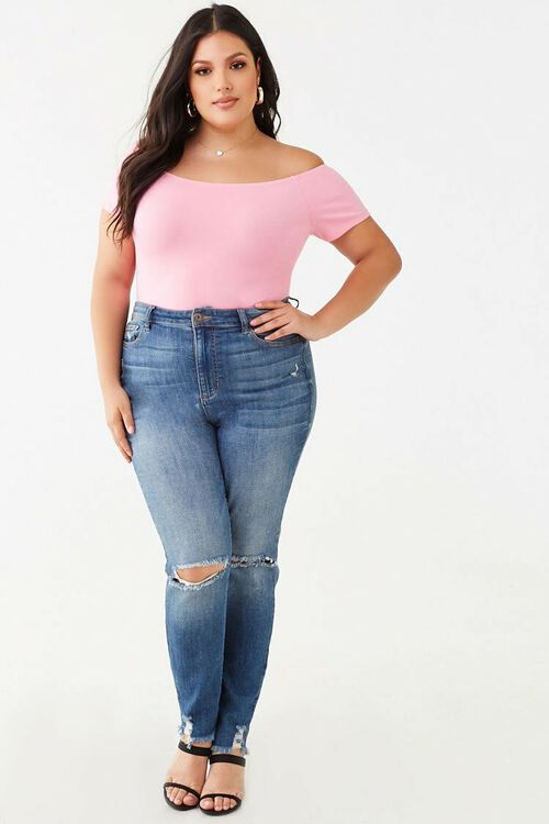 PINK Plus Size Off-the-Shoulder Bodysuit, image 4