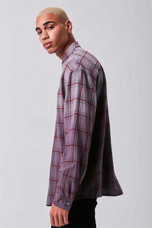 GREY/PLUM Grid Ombre Wash Flannel Shirt, image 2