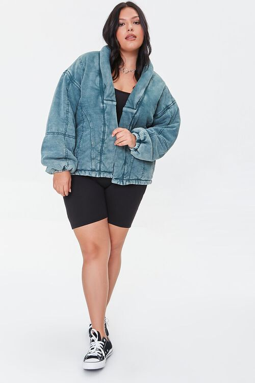 TEAL Plus Size Mineral Wash Jacket, image 4
