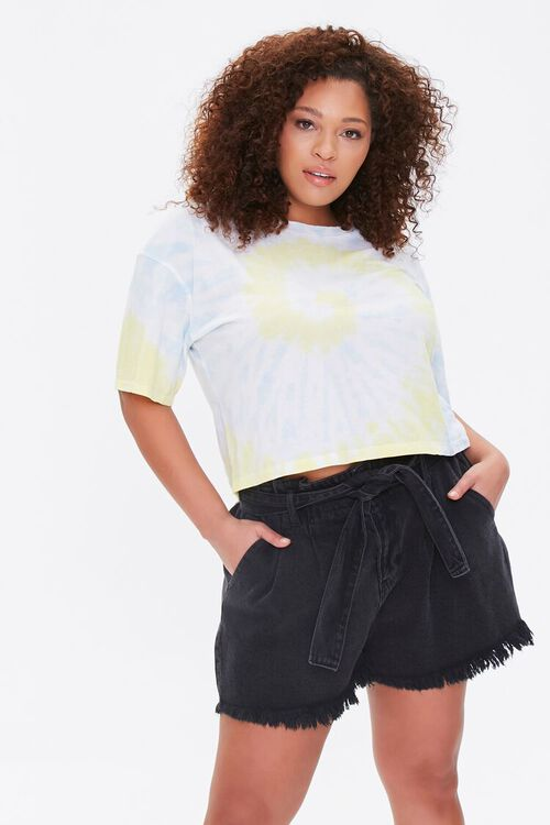 Plus Size Denim Paperbag Shorts, image 1