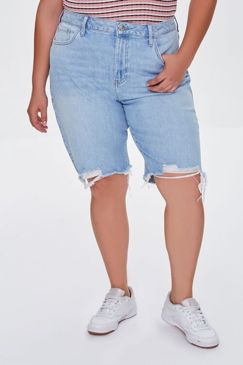 Plus Size Bermuda Denim Shorts, image 2