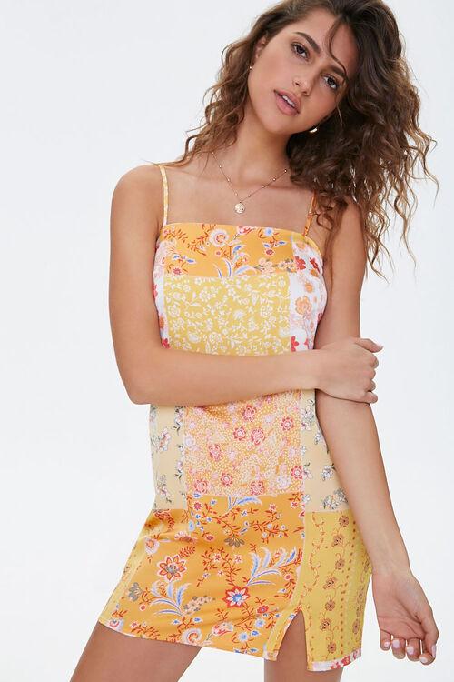 Floral Vented-Hem Satin Dress, image 1