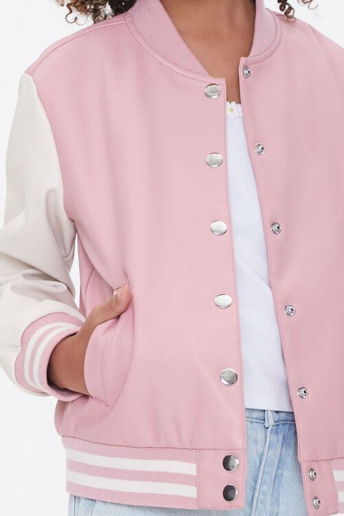 Girls Faux Leather Varsity Jacket (Kids), image 5