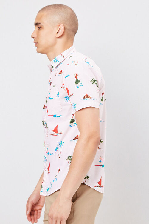 Fitted Pinstriped Tropical Shirt, image 2