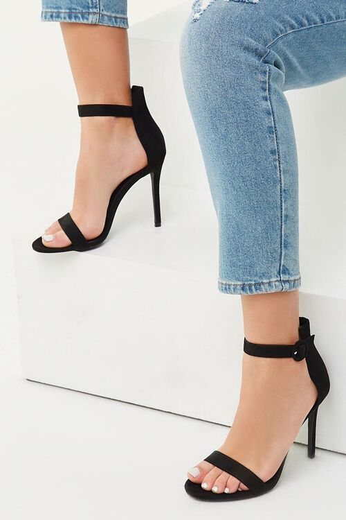 Faux Suede Ankle Strap Heels, image 1