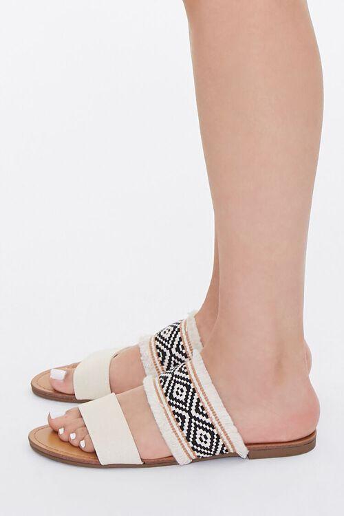 BEIGE Geo Print Frayed Sandals, image 2