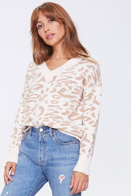 Animal Print V-Neck Sweater, image 1