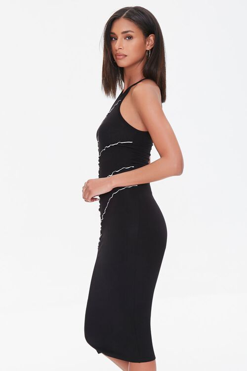 BLACK Seamed Bodycon Midi Dress, image 2
