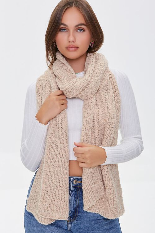 Brushed Chunky Knit Oblong Scarf, image 1
