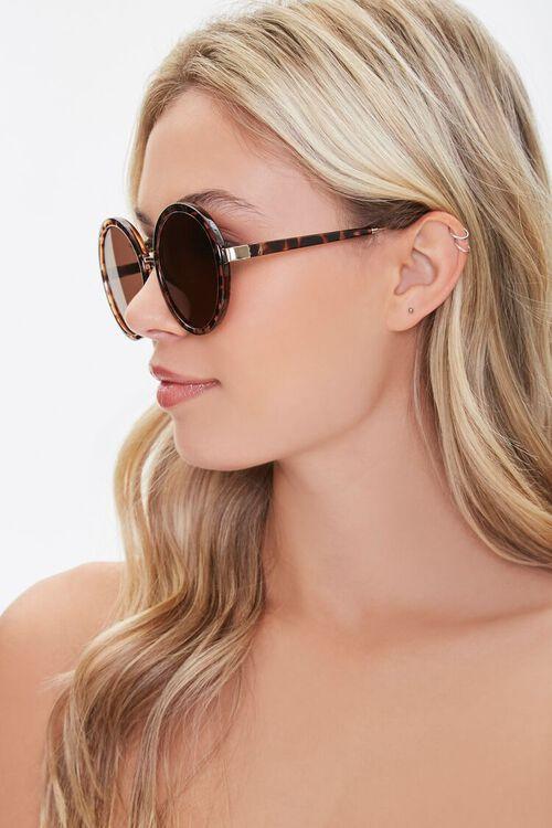 GOLD/BROWN Round Tortoiseshell Sunglasses, image 2