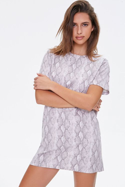 Snake Print T-Shirt Dress, image 1